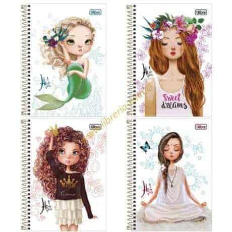 cuaderno class hi girls tilibra 100 hojas tapa dura 4 modelos - libreria elim