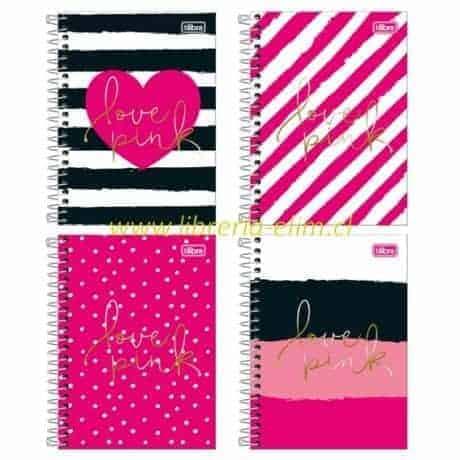 libreta love pink 1-4 tilibra tapa dura 100 hojas 7mm - libreria elim