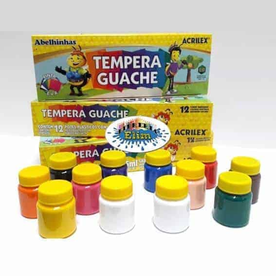 tempera acrilex 12 colores de 15 ml doble blanco - libreria elim