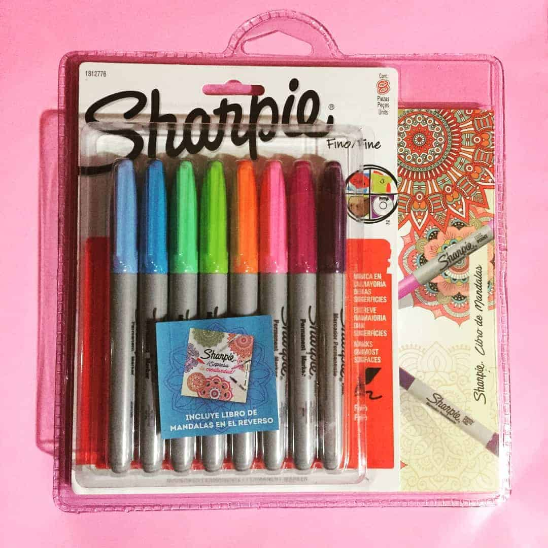 set sharpie 8 colores fashion + libro de mandalas