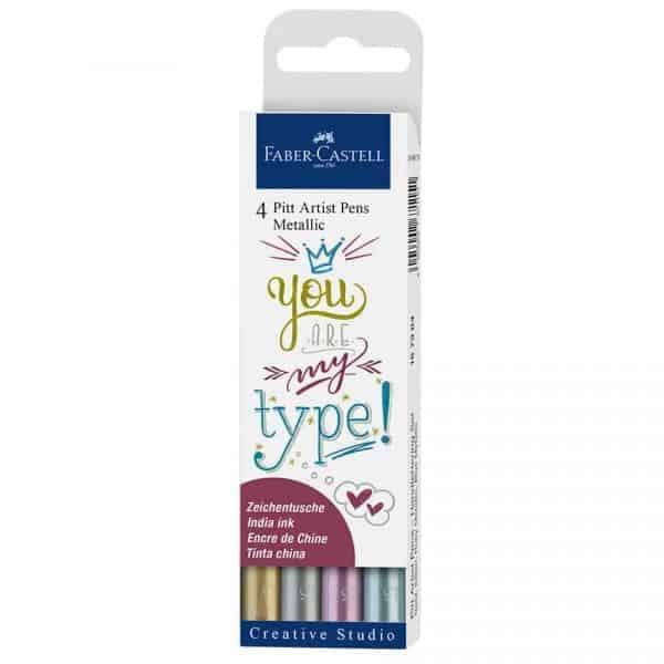 marcadores pitt metallic artist pen faber castell set 4 colores
