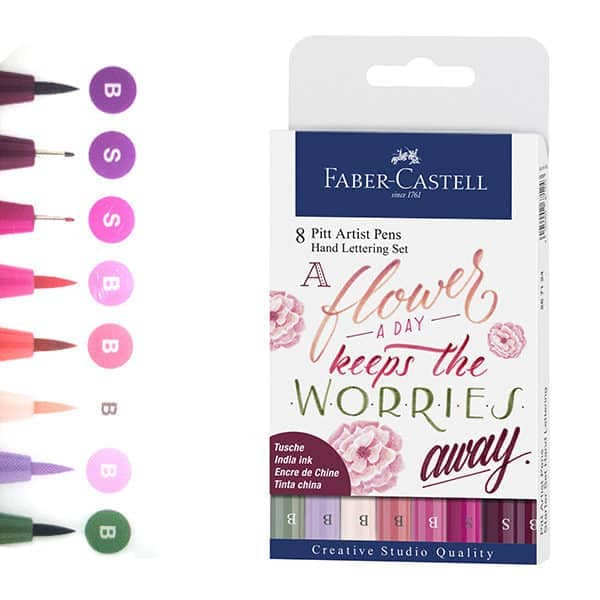 marcadores flower pitt hand lettering faber castell set 8 colores
