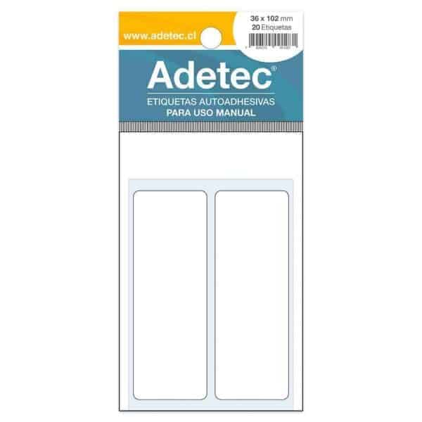 ETIQUETA RECTANGULAR USO MANUAL 36x102mm ADETEC 127