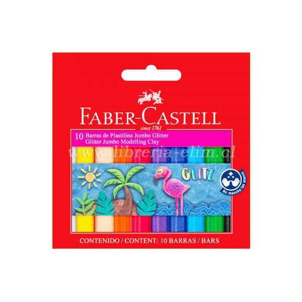 PLASTICINA GLITTER FABER CASTELL 10 COLORES
