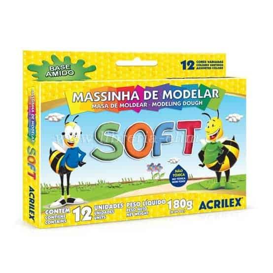 MASA DE MODELAR SOFT ACRILEX 12 COLORES