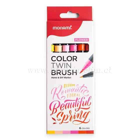 MONAMI TWIN BRUSH FLOWER SET 6 COLORES