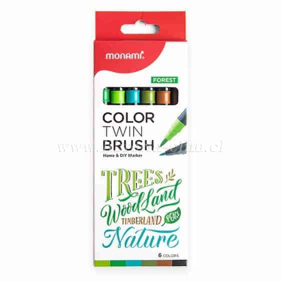 MONAMI TWIN BRUSH FOREST SET 6 COLORES