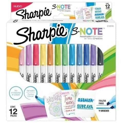 SHARPIE SNOTE PASTEL 12 COLORES 2 TRAZOS